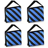 Neewer® Set of Four Black/Blue Heavy Duty Sand Bag Photography Studio Video Stage Film Sandbag Saddlebag for Light Stands Boom Arms Tripods