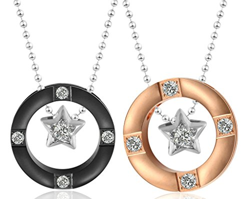 Daesar His & Hers Necklace Set Couples Pendant Necklace Stainless Steel Cubic Zircona Ring Star - In Macys Island Long