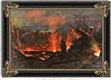 Volcano Kilauea Island Of Hawaii by Jules Tavernier Oil Painting 30'' x 22'' with Black Antique Frame - Ready to Hang Framed Art Reproduction
