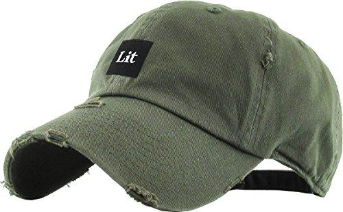 KBSV-071 OLV LIT Patch Vintage Distressed Dad Hat Baseball Cap Adjustable