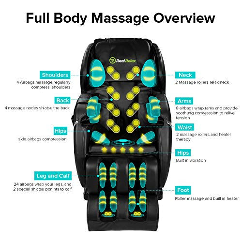Real Relax Zero Gravity Full Body Affordable Shiatsu Electric Massage Chair with Armrest Linkage...