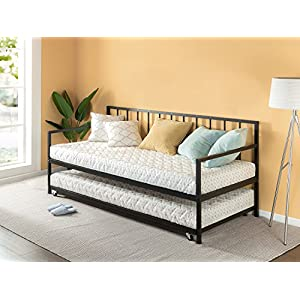 Zinus Eden Twin Daybed and Trundle Set / Premium Steel Slat Support / Daybed and Roll Out Trundle Accommodate Twin Size Mattresses Sold Separately 11