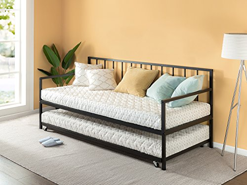 Zinus Eden Twin Daybed and Trundle Set / Premium Steel Slat Support / Daybed and Roll Out Trundle Accommodate Twin Size Mattresses Sold - Bed Queen Bedroom Newport