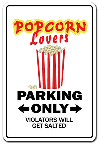 POPCORN LOVERS Sign movie night film theatre pop corn hot buttered | Indoor/Outdoor | 14'' Tall