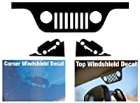 JEEP WRANGLER JK Windshield Replacement Decals - Grill and Corner - Black