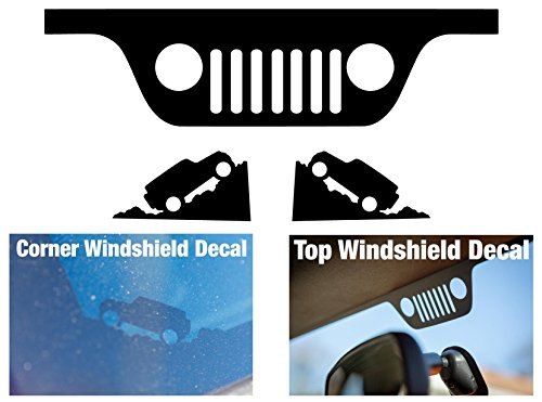 JEEP WRANGLER JK Windshield Replacement Decals - Grill and Corner - Black (Wrangler Corner Jeep)