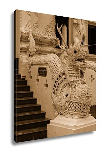 Ashley Canvas Thai Art Naka Statue On Staircase In Wat Sri Don Moon Chiangmai Thailand, Wall Art Home Decor, Ready to Hang, Sepia, 20x16, AG5547061 by Ashley Canvas
