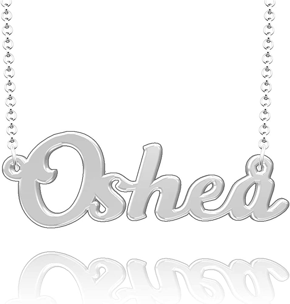 LoEnMe Jewelry Oshea Name Necklace Stainless Steel Plated Custom Made of Last Name Personalized Gift for Family