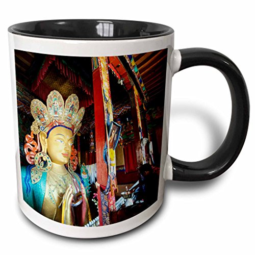 3dRose Danita Delimont - India - Ladakh, Monk offerings in Thiksey Monastery - AS10 AAS0107 - Anthony Asael - 15oz Two-Tone Black Mug (mug_132538_9)