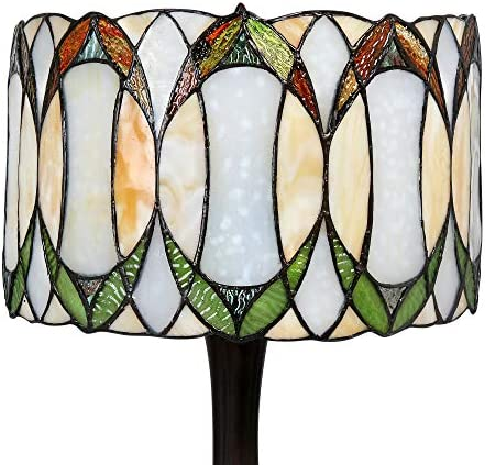 """Tiffany Style 22"""" Contemporary Drum Table lamp in Green and White"""