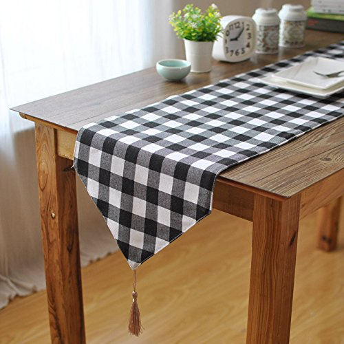 Aothpher 12 inch by 55 inch Chevron Simple Style Geometric Plaid Table Runner Buffalo with Tassel for Dining Table - Plaid Table Runner