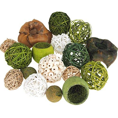 Homeford FBN000000436512A Decorative Wicker Balls Bowl Filler, 4'', Assorted Green