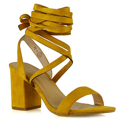 - ESSEX GLAM Womens Chunky Block Low Mid Heel Lace Up Strappy Sandal Faux Suede Shoes (8 B(M) US, Mustard Faux Suede)