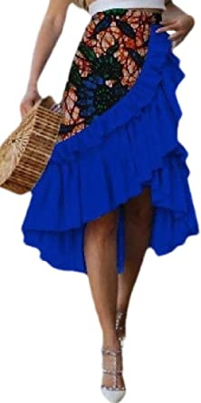 dahuo falda asimétrica de algodón estilo africano con volantes ...