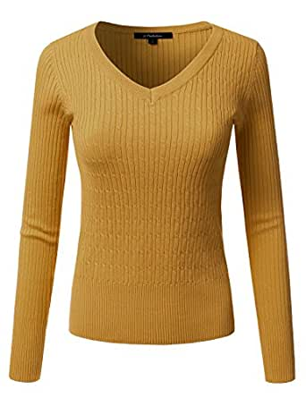 JJ Perfection Women's Classic Long Sleeve V-Neck Cable Knit Sweater DARKMUSTARD XL