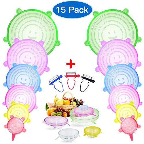 Silicone Stretch Lids Food Guard 12 Pack Plus 3 Freebies Food Bowl Covers Reusable For Cans Cups Pots Pans Storage Keeping Food Fresh Wrap Seal Lids Durable Eco-friendly Fits Various -
