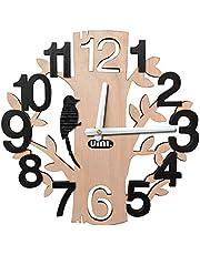 UMI. Essentials - Horloge Murale à Quartz Silencieuse en Bois en Forme d'arbre, Decoration Maison,Bureaux,Cuisines,Salles à Manger