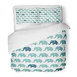 SanChic Duvet Cover Set Colorful Adorable Pattern Blue Grey Elephants Children's Cute Baby Decorative Bedding Set 2 Pillow Shams King Size