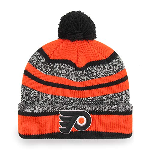 OTS NHL Philadelphia Flyers Male Huset Cuff Knit Cap with Pom, Black, One Size