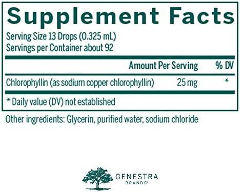 Genestra Brands – Liquid Chlorophyll – 25 mg Chlorophyll Formulation per Drop – 1 fl. oz.