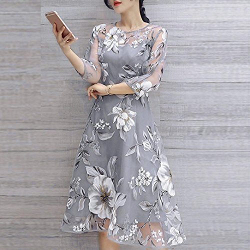 AIMTOPPY Women's Summer Three-quarter sleeves Organza Floral Print Wedding Party Ball Prom Gown Cocktail Dress (XL, Gray) by AIMTOPPY (Image #2)