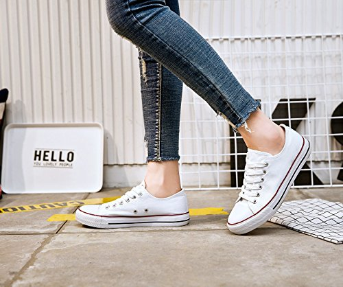 Shoes Fashion for up Sneakers Cut Walking Canvas Adokoo Low Women's Casual Lace White Comfortable PwqzqEx