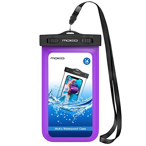 MoKo Waterproof Phone Pouch, Underwater Waterproof CellPhone Case Dry Bag with Lanyard Armband Compatible with iPhone X/Xs/Xr/Xs Max, 8/7/6s Plus, Samsung Galaxy S10/S9/S8 Plus, S10 e, S7 edge, Purple