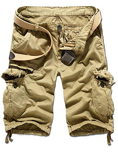 FENGTAI Men's Fashion Cotton Comfortable Cargo Casual Short Pants khaki 31