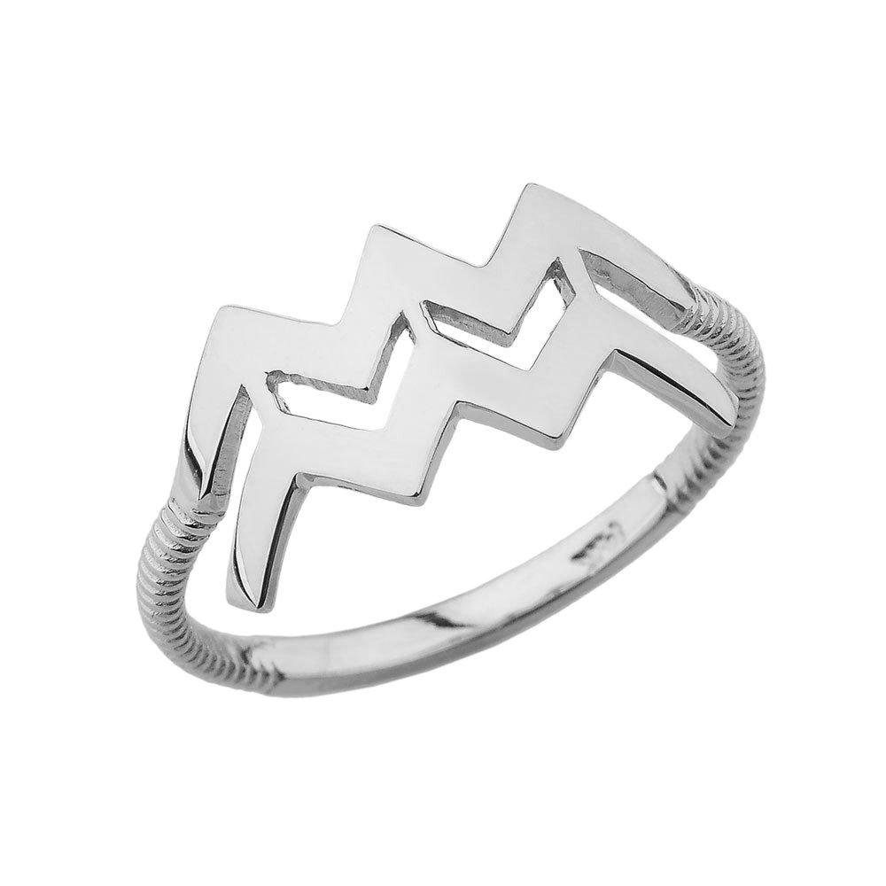 White Gold 10k Aquarius Zodiac Horoscope Rope Ring