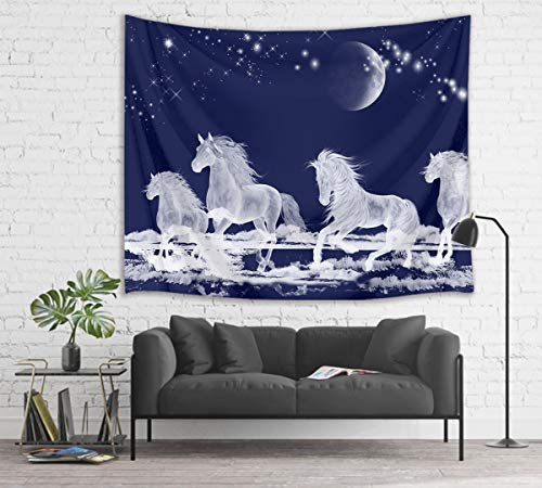 HVEST Galloping Horse Tapestry Horses Running on Ice River Wall Hanging Moon and Star in Night Sky Tapestries for Bedroom Living Room Dorm Party Decor,80Wx60H - Horse Hanging