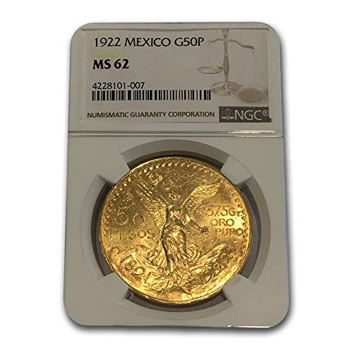 1922 MX Mexico Gold 50 Pesos MS-62 NGC Gold MS-62 NGC