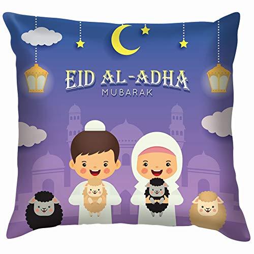 Eid Al Adha Mubarak Greeting Card Cute Holidays Cotton Linen Home Decorative Throw Pillow Case Cushion Cover for Sofa Couch 16X16 Inch