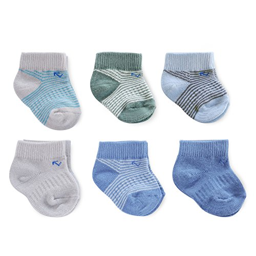 everUP Baby Boys' Stay up Technology Ankle Socks (6 Pack), Green/Grey/Blue, 0-3 MONTHS