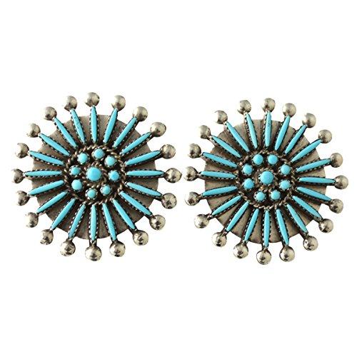 Eva Booqua Sterling Silver Turquoise Needlepoint Zuni (Zuni Turquoise Needlepoint)