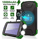 Solar Charger 10000mAh, Portable Solar Power Bank IPX4 Waterproof Outdoor Travel Qi Wireless Solar Panel Charging External Battery Pack with DC5V/2.1A USB Output/Type-C Input/Dual Flashlight/Compass