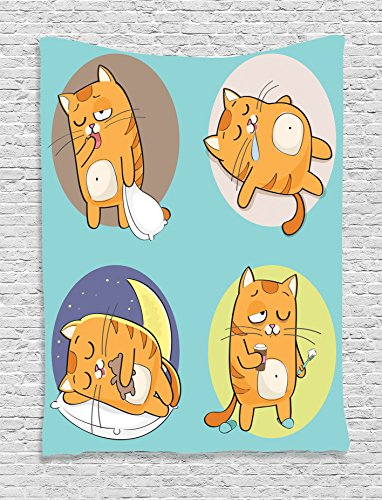 Ambesonne Cat Lover Decor Collection, Cute Cartoon Cat in Various Poses Sleepy Lying Dreaming Morning Comic Art, Bedroom Living Room Dorm Wall Hanging Tapestry, Turquoise Yellow - Pictures Nice Pose