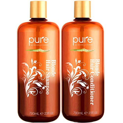 Shampoo and Conditioner for Blonde Hair. Protects & Balances- Shampoo and Conditioner for Color Treated Hair, Blonde, Bleached & Highlighted Hair. Sulfate Free Purple Shampoo & Conditioner Set by Pure (Best Purple Shampoo For Blonde Color Treated Hair)