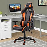 Cloud Mountain Gaming Chair Racing Style Office Chair PU Leather High-back Swivel Computer Desk Executive Gaming Chair Lumbar Support With Ergonomic Soft Headrest Task Video Gaming Chair, Orange Black Cloud Mountain