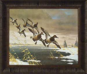 Lienzo topes de Les Kouba 20x 24Lake nieve Patos volando Framed Art Print imagen