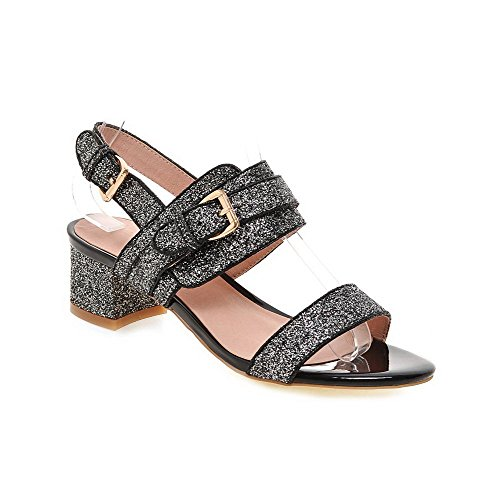 Donna Toe misto Agoolar Sandal Black Materiale Open Buckle Mini Solid tacco dqfSYw