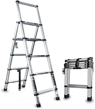 Zhicaikeji Escalera De Extensión 330 Libras De Capacidad Escalera Telescópica Plegable De Aluminio De Peso Ligero Es Conveniente For El Hogar Mantenimiento De Edificios Escalera Plegable Extensión: Amazon.es: Hogar