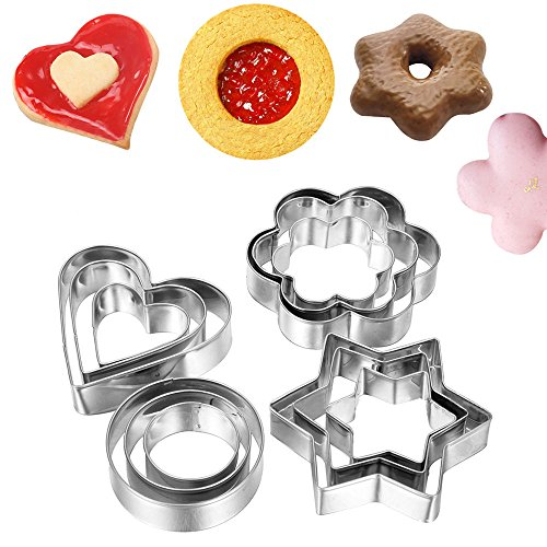 Gotain Cookie Cutter Mold Metal Biscuit Cutters Set Stainless Steel Flower Fruit Cutter Heart Star Circle Flower Shaped for Kitchen Baking Halloween Christmas Festivals 12 Pcs -