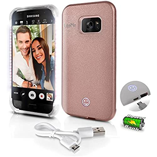 Samsung Galaxy S7 Edge 2-in-1 Selfie Light LED Illuminated and Juice Pack Case - SereneLife LiteMe (Rose Gold) Sales