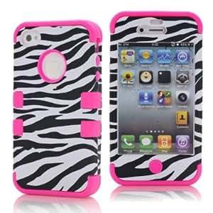 SHHR-HX4G174N Zebra Design Hybrid Cover Case for Apple iPhone4 4s 4G -Hot Pink Color
