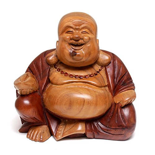 NOVICA Hand Carved Natural Acacia Wood Buddha Sculpture, 8 Tall, Buddha Laughs