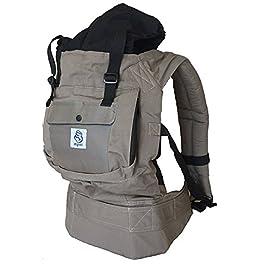 mochila portabebés gris