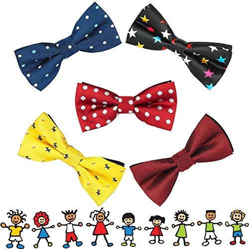 OUMUS 5PC Boys Bow Tie - Stylish Adjustable Pre-tied Bow Ties,3.94''x 1.97'' by OUMUS