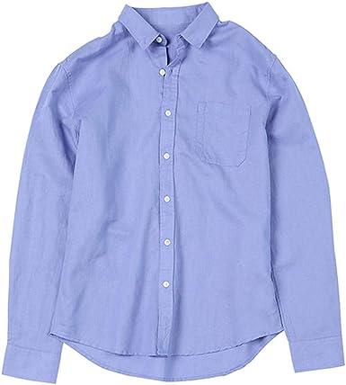 Innerternet-Camisa de Hombre, Camisa de Manga Larga de Solapa ...