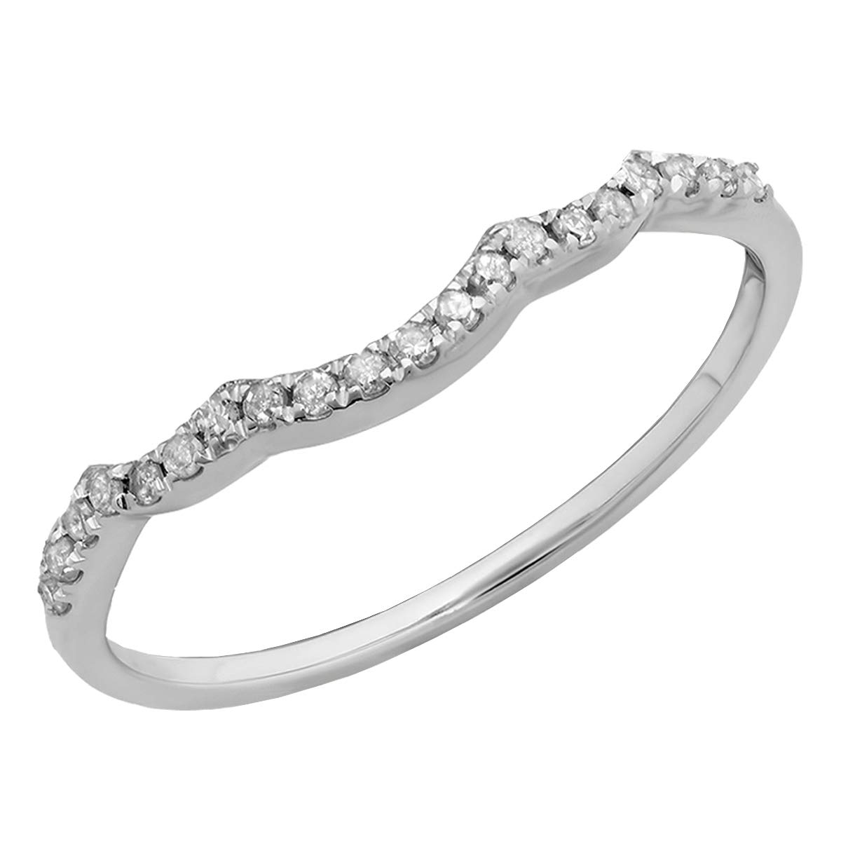 0.12 Carat (cttw) Round White Diamond Ladies Stackable Wedding Contour Guard Band, 10K White Gold, Size 7 by Dazzlingrock Collection