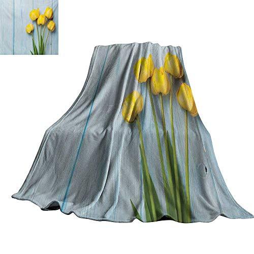 "RenteriaDecor Tulip,Fashion Warm All Season Blanket Yellow Flowers on Old Wooden Rustic Background Valentines Romantic Theme Throw Rug Sofa Bedding 80""x60"""